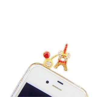 Mavis's Diary Bling 3D Earphone Jack Accessory 3.5mm of Crystal Cute Eiffel Tower Rhinestone Design Diamond Dust Plug / Ear Jack for Iphone 3 3gs 4 4s 5;apple Ipad 1 2 3 4 Mini;samsung Note 2 N7100;samsung Galaxy S3 I9300, I8190, I8262d, S2 I9100, I926