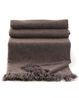 Cashmere Blanket with Fringe Detail   Brunello Cucinelli