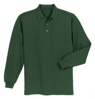 Port Authority Men's Heavyweight Long Sleeve Pique Knit Polo Shirt Clothing