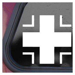 German Deutsch Luftwaffe Wehrmacht Cross White Decal Sticker White Decal Sticker   Decorative Wall Appliques