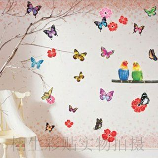 Small wall sticker DIY Flower Butterfly Bird Wall Sticker Decals LW940