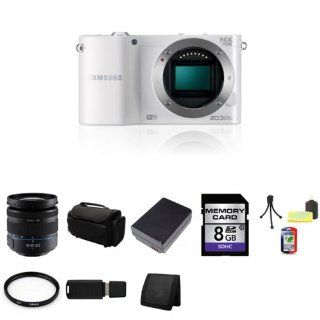 Samsung NX1100 Smart Wi Fi Digital Camera Body (White) + Samsung 18 55mm f/3.5 5.6 OIS Compact Zoom Lens (Black) + 58mm UV Filter + 8GB SDHC Class 10 Memory Card + BP1030 Lithium Ion Replacement Battery + Deluxe Soft Large Camera and Video Case Bag + Mini