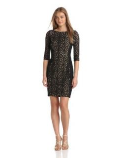 Anne Klein Women's Dotted Lace Dress with Jersey Back and Sides, Black, 2