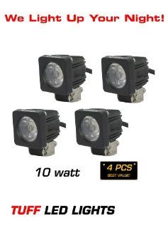 "Tuff LED Lights 4 X 2"" Inch Square 10 Watt Linkable LED Work Light 950 Lumens   Atv, Utv, Off Road Jeep 4x4 E Series Polaris Razor, Yamaha Rhino   INCLUDES FREE UNIVERSAL WIREHARNESS WITH INLINE FUSE, RELAY, AND TUFF LED PILOT TOGGLE SWITCH Automo"