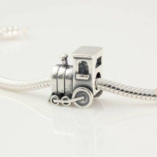 925 Sterling Silver Cute Train Engine Car Charm for Pandora, Biagi, Chamilia, Troll and More Bracelets Bead Charms Jewelry