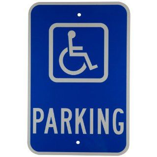 "Brady 91362 18"" Height, 12"" Width, B 959 Reflective Aluminum White On Blue Color Handicapped Sign, Legend ""Parking (With Picto)"" Industrial Warning Signs"