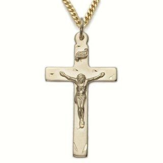 "Highest Quality 14K Gold over .925 Sterling Silver Crucifix Pendant Necklaces in a Polished Finish and Engraved Design Catholic Jewelry Crucifix Pendant Necklaces w/Chain Necklace 24"" Length Jewelry"