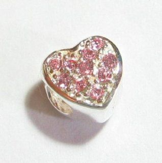 .925 Sterling Silver Heart Love Light Pink Rose Cz Crystal Bead For Pandora, Troll Chamilia Biagi European Story Charm Bracelets Jewelry