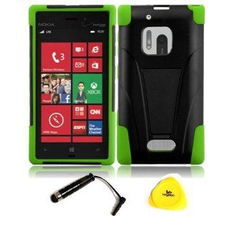 For Nokia Lumia 928   Wydan Trapezoid Y Stand Hybrid Hard Soft Case Kickstand Cover   w/ Wydan Prying Tool and Stylus Pen (BLACK ON GREEN) Cell Phones & Accessories
