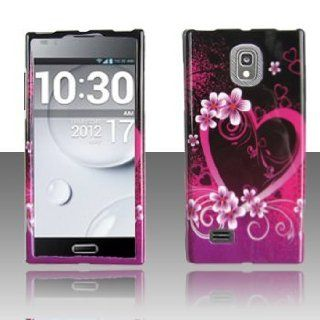 LG Spectrum 2 II VS930 VS 930 Black with Hot Pink Love Hearts Flowers Design Snap On Hard Protective Cover Case Cell Phone Cell Phones & Accessories