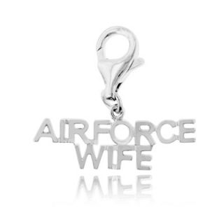 Sterling Silver AIR FORCE WIFE Clip On Charm   Zales