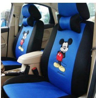 18pcs Black Blue Mickey Mouse Auto Car Front Saddle Neckrest Steering Wheel Seat Covers Mickey Car Cushion Mickey Mouse Car Accessories Kits   Ropes