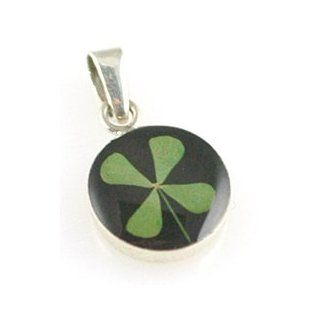 Black Four Leaf Clover Small Round Pendant Jewelry