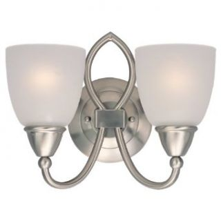 Sea Gull Lighting 40074 962 Pemberton Two Light Vanity, Brushed Nickel Finish with Satin Etched Glass   Vanity Lighting Fixtures