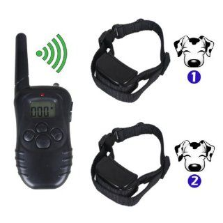 Petainer Rechargeable Waterproof 300m Remote Control Pet Dog Training Collars for 2 Dogs Pet998dr