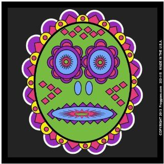 "TRIBAL DAY OF THE DEAD   GREEN/BLACK   STICK ON CAR DECAL SIZE 3 1/2"" x 3 1/2""   VINYL DECAL WINDOW STICKER   NOTEBOOK, LAPTOP, WALL, WINDOWS, ETC. COOL BUMPERSTICKER   Automotive Decals"