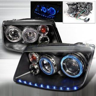 1999 2004 Volkswagen Jetta Led Stripe Dual Halo Projector Headlights Black Automotive