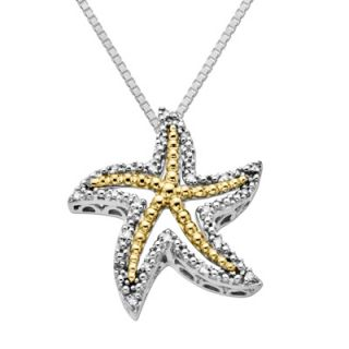 Diamond Accent Starfish Pendant in Sterling Silver and 14K Gold