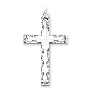Sterling Silver Laser Designed Cross Pendant, Best Quality Free Gift Box Satisfaction Guaranteed Jewelry