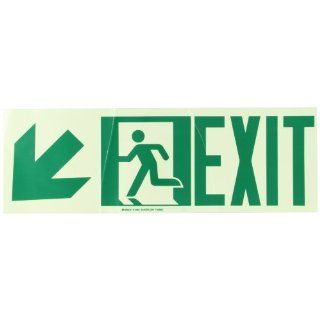 "Brady 114664 BradyGlo 7"" Height, 21"" Width, B 984 High Intensity Self Sticking Polyester, Safety Green Color Egress Sign, Legend ""Exit With Running Man   Arrow left Down"" Industrial Warning Signs"