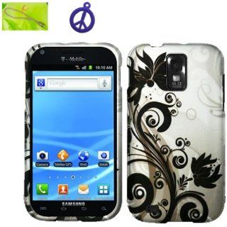 T Mobile Samsung Galaxy S II S2 SGH T989 (B BLKV) Black Vine Flower on Silver Design, Rubberized Coated Surface Hard Plastic Case Skin Cover Faceplate + Peace Charm and Strap Combo Cell Phones & Accessories