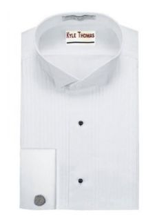 "Kyle Thomas Men's Tuxedo Shirt 1/4"" Wing Collar, French Cuffs, White at  Men�s Clothing store"