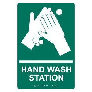 ADA Hand Wash Station Braille Sign RRE 997 WHTonPNGRN Hand Washing  Business And Store Signs