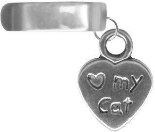 Love My Cat Cuff Dangling Cat Cartilage Cuff Non Pierced Earring Valentines Day Gift for Her Jewelry