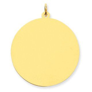 14k Yellow Gold Round Disc Charm. Metal Wt  3g Jewelry