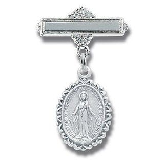 Sterling Silver Christening Baptism Baby Infant Pins Godchild Religious Mary Angel Jewelry