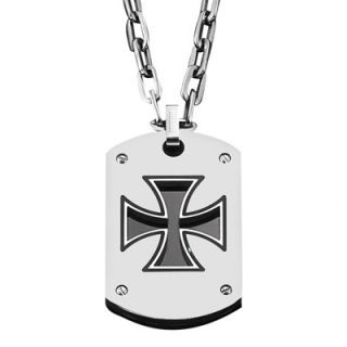 Triton Mens Stainless Steel Maltese Cross Dog Tag Pendant   Zales