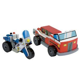 Toy Fire Truck & Police Motorcycle Vehicle Set Toys & Games