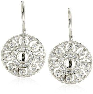 "KC Designs ""Estate"" Diamond 14k White Gold Small Disc Earrings Jewelry"