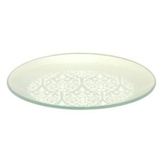 Tango Home 4 pc Metallic Foil Tempered Glass Plate Set Silver Damask, 8 inch Round Kitchen & Dining