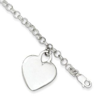 Sterling Silver Engraveable Heart Charm Childs Bracelet. Metal Wt  7.03g Link Charm Bracelets Jewelry