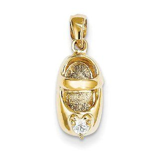 14k Yellow Gold 3 D April/White Zircon Engraveable Baby Shoe Charm Pendant Jewelry