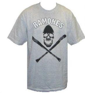 The Ramones T Shirt   Skull & Crossbats with Logo Above on Ash Grey / Ash Gray Shirt, Sz. Large Clothing