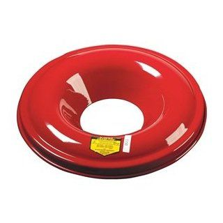 "Justrite 26330 Cease Fire Pail Cover special reverse baffle design directs smoke and gases down and across the opening. Steel cover has red powder coated finish, fits 30 gallon container, outside dimensions 19 7/8"". Hazardous Storage Cans Industrial"