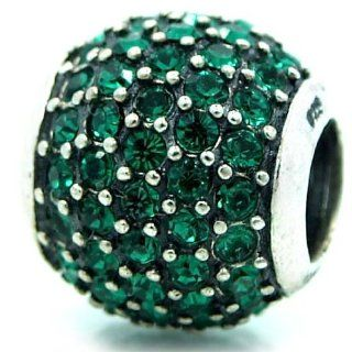 "Pro Jewelry .925 Sterling Silver ""Emerald Green CZ"" Charm Bead for Snake Chain Charm Bracelets Charms Jewelry"