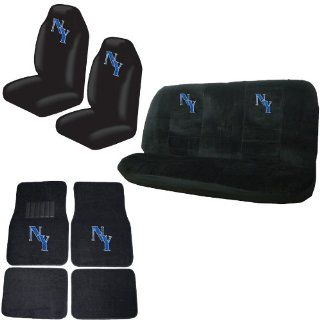 NY New York Gem Crystals Studded Rhinestone Car Truck Seat Covers Mats Bench 8 Piece Combo Kit Automotive