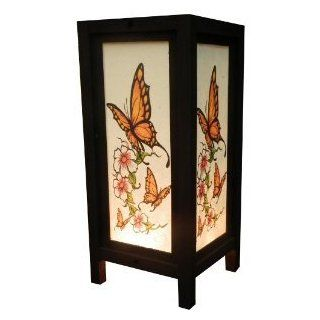Thai Vintage Handmade Asian Oriental Butterfly Bedside Table Light or Floor Wood Paper Lamp Shades Home Bedroom Garden Decor Modern Design from Thailand