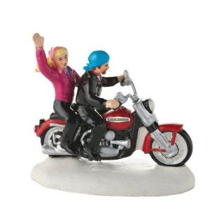 ALWAYS FUN ON Harley Davidson Figurine Christmas Snow Village Dept 56 Accessory   Holiday Figurines
