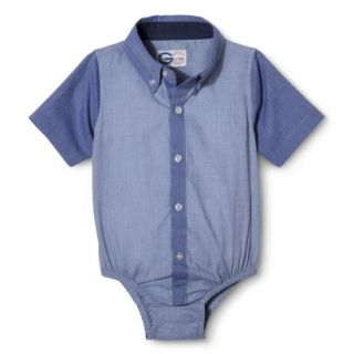 G Cutee Newborn Boys Short Sleeve Button Down Shirtzie   Chambray 3 6 M