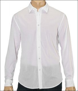 John Varvatos Star U.S.A. Slim Fit Shirt With Back Darts Mens Long Sleeve Button Up (White)