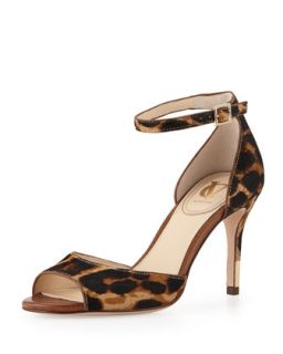 Nilah Leopard Print Calf Hair Sandal, Natural   VC Signature