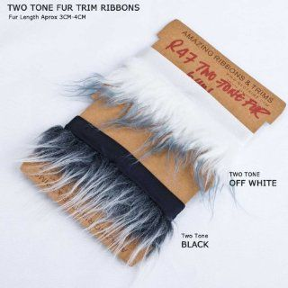 Neotrims Fake Faux Two Tone Fur Woolly Fringe, Fleecy Thick Pile Trim on Satin Ribbon, For Costume, Crafts, Decoration. Easy to attach and sew on anything with Satin Ribbon Edge.
