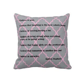I Believe in Pink Audrey Hepburn Quotes Quatrefoil Pillow Cover 18x18, Double Sided Print Pillow Cases, Decorative Throw Pillow Covers, Cushion Covers