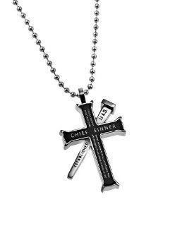 "Christian Mens Black Stainless Steel Abstinence ""Chief Sinner   This Is A Faithful Saying, And Worthy Of All Acceptation, That Christ Jesus Came Into The World To Save Sinners, Of Whom I Am Chief"" nail reads ""Established 33 A.D."", and b"