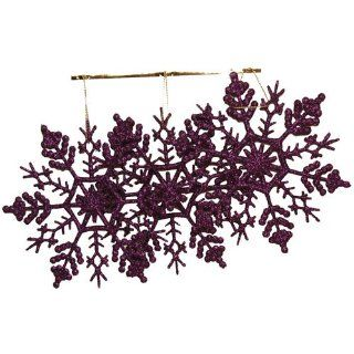 Purple Snowflake Gift Wrapping Embellishments / Ornaments   3 per pack   Decorative Hanging Ornaments