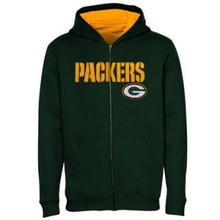 Green Bay Packers Youth Fleece Full Zip Hoodie   Green